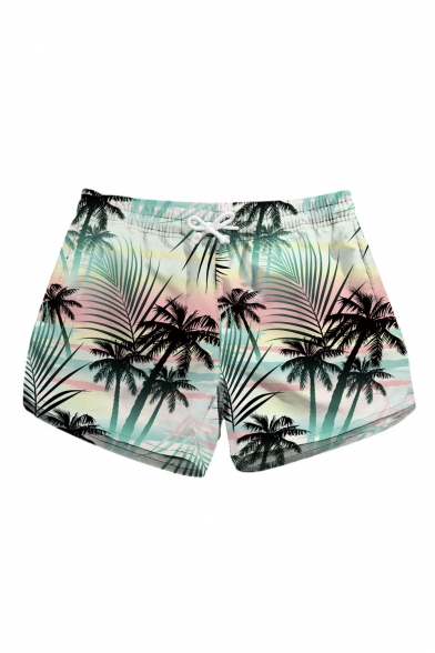Coconut Tree Printed Drawstring Waist Beach Shorts with Pockets