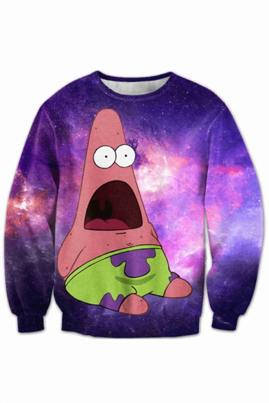 Cartoon Oversize Digital Sweatshirt Sleeve Pullover Galaxy Long Neck Printed Round dw6p0qaw