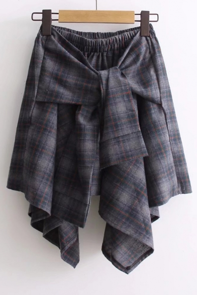 Elastic Waist Tied Front Asymmetric Hem Plaid Printed Mini A-Line Skirt