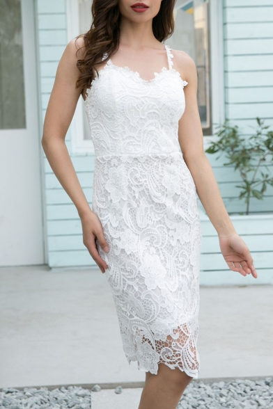 Elegant Spaghetti Straps Sleeveless Floral Lace Midi Cami Dress