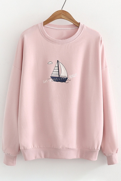 Boat Sleeve Round Fashion Printed Sweatshirt Pullover Letter Long Neck axz4fwq