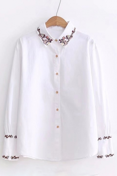 Floral Embroidered Button Front Long Sleeve Simple Lapel Denim Shirt