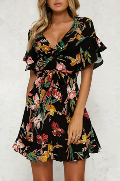 Neck Belted Dress Fancy A Floral Sleeve Short Print Hot line Mini Bow Plunge gZOnRH1
