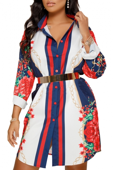 Hot Fashion Color Block Floral Print Button Front Lapel Tunic Shirt
