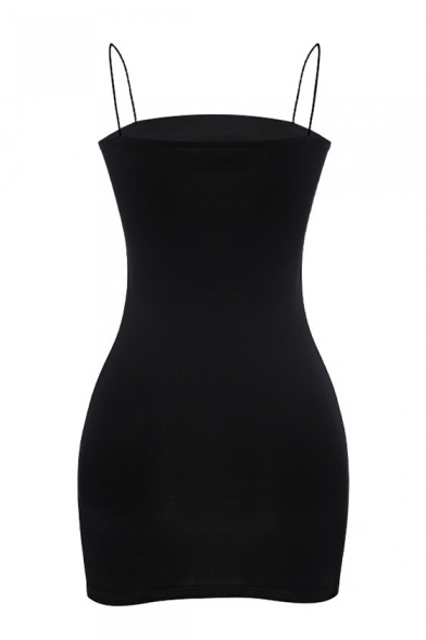 Hot Popular Simple Spaghetti Straps Plain Sleeveless Mini Bodycon Dress