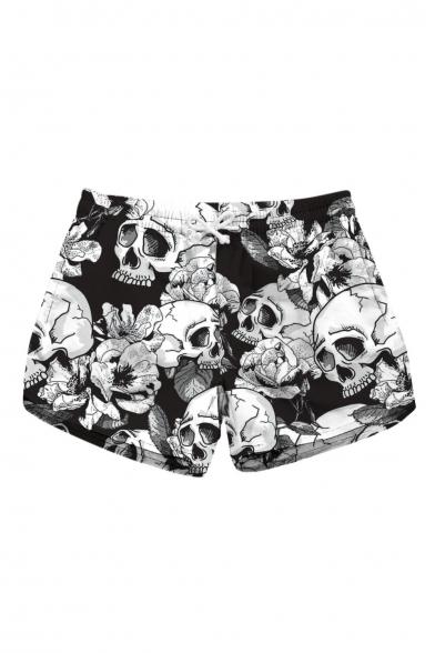 Skull Floral Printed Drawstring Waist Shorts