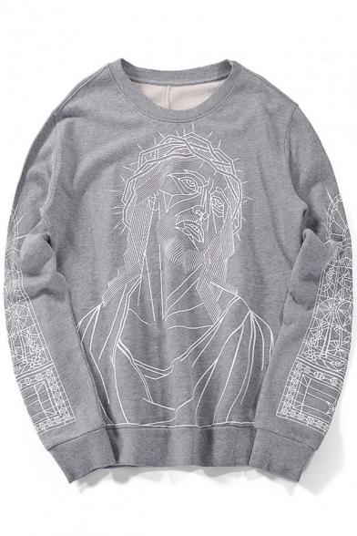 Printed Leisure Sweatshirt Pullover Neck Sleeve Round Character Long Loose qEOCBawET