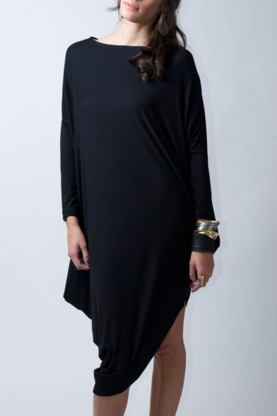 33f51301f91d Leisure Plain Boat Neck Long Sleeve Asymmetrical Hem Loose T-shirt Dress