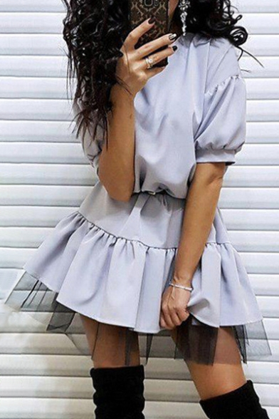 Popular Gauze Patchwork Ruffle Hem Plain Shift Mini Dress