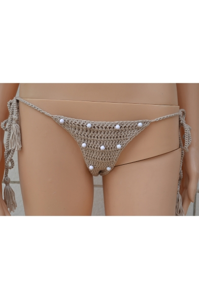Embellished Tassel Halter Bikini Detail Neck Knitted Summer Beaded Sexy xgqP4x
