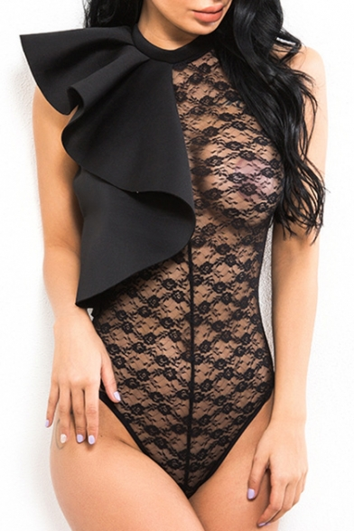 Sexy Sheer Floral Lace Ruffle Detail Round Neck Sleeveless Bodysuit