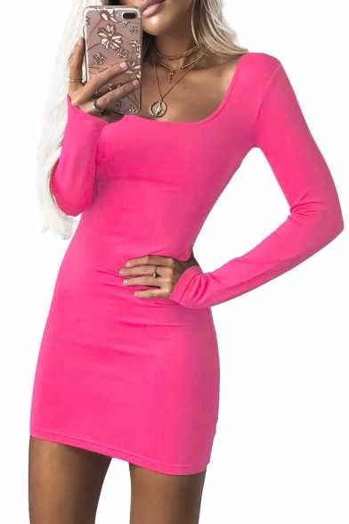 Plain Square Slim Sexy Neck Bodycon Long Mini Sleeve Dress 5qASSWOny