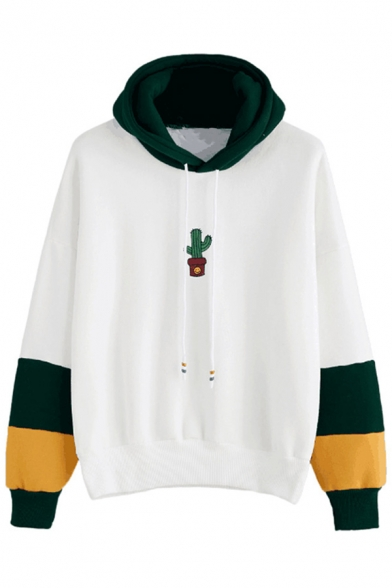 Color Leisure Hoodie Block Cactus Printed Sleeve Simple Long Fxq8EwFY