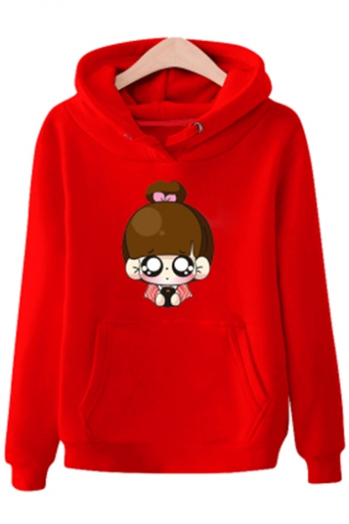 Printed Hoodie Cartoon Winter's Long Pocket Girl Cute New with Arrival Sleeve wqp8XHS