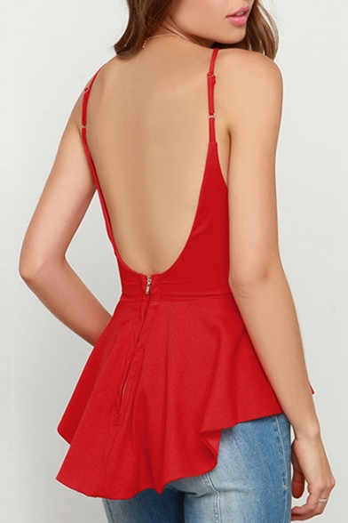Hem Plain Cami Straps Peplum Spaghetti Dipped Back Top Fashion Open Women's C6qBnS0t