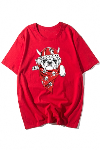Adorable Dog Pirate Print Round Neck Short Sleeves Summer T-shirt