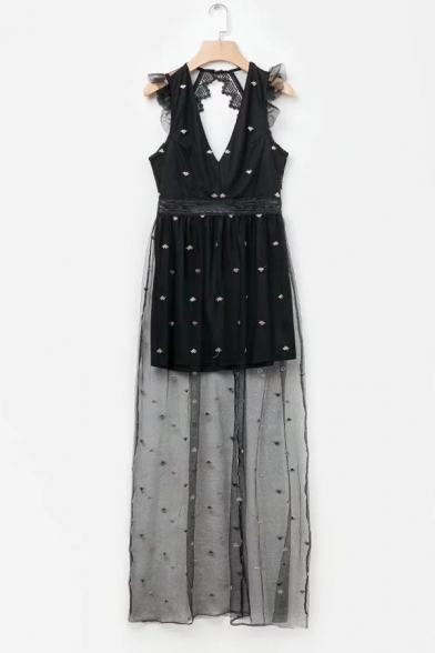 Elegant Embroidered Sheer Mesh Panel V Neck Sleeveless Hollow Out Back Maxi Party Dress