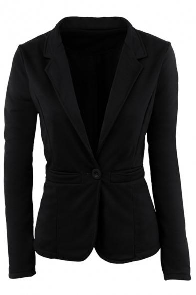 Elegant Single Button Long Sleeve Notched Lapel Slim Fit Plain Blazer