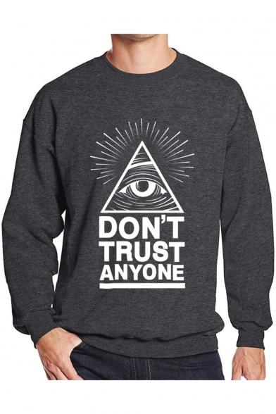 Eye Letter Printed Round Neck Long Sleeve Pullover Sweatshirt