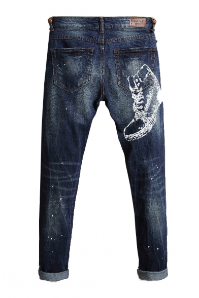 Fashion Printed Simple Embroidered Zipper Fly Leisure Jeans