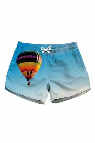 Hot Air Balloon Sky Printed Drawstring Waist Shorts with Pockets