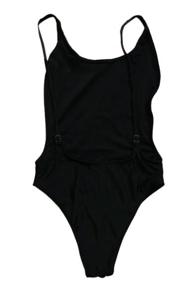 Hot Sale Basic Simple Plain Open Back One Piece Swimwear