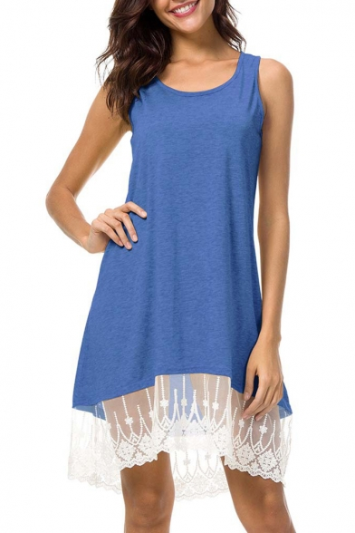 Scoop Neck Sleeveless Lace Panel Mini Tank Dress