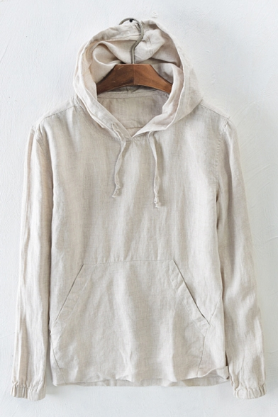 Plain Linen Hoodie Long Simple with Sleeve Pocket Leisure ZPEwSqZ