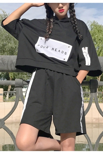 Striped Sleeve Hooded Co Tee Shorts Sports Printed Contrast Leisure with ords Loose Letter Short Y7nzxIw
