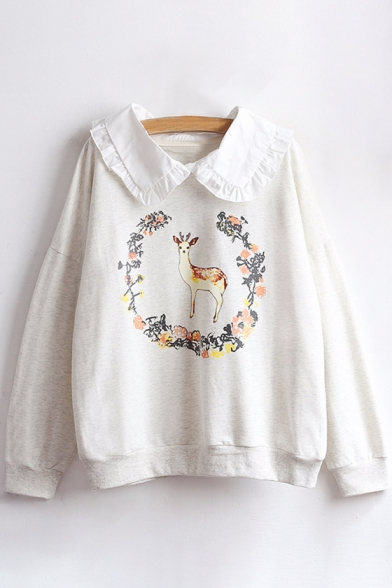 Pan Peter Long Collar Leisure Sweatshirt Deer Printed Sleeve Floral Pullover vqq1wOFZ