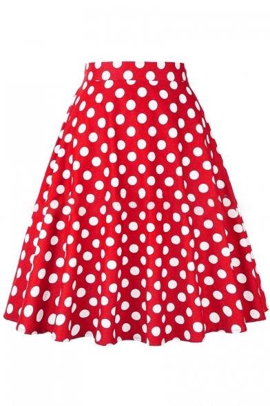 Retro Polka Dot Printed High Waist Zipper Fly Midi A-Line Skirt