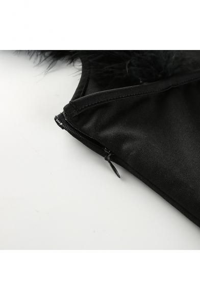 Sexy Feather Embellished Straps Sleeveless Plain Mini Bodycon Dress