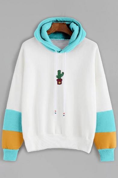 Simple Cactus Printed Color Block Long Sleeve Leisure Hoodie
