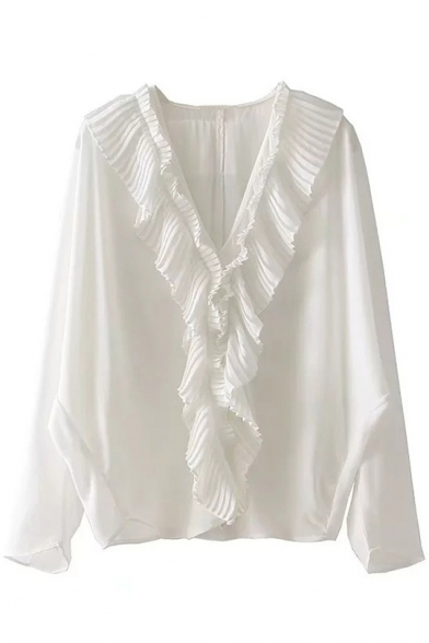 Simple Ruffle Detail Long Sleeve V-Neck Pullover Blouse
