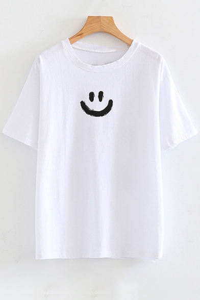 Printed Letter Face Short Round Back Smile Sleeve Tee Neck EOAwqw5
