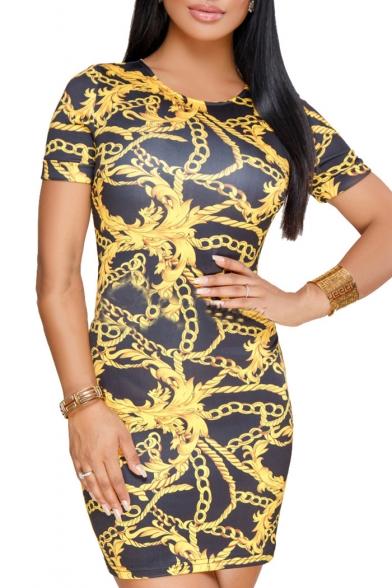 Stylish Gold Chain Printed Round Neck Short Sleeve Mini Bodycon Dress
