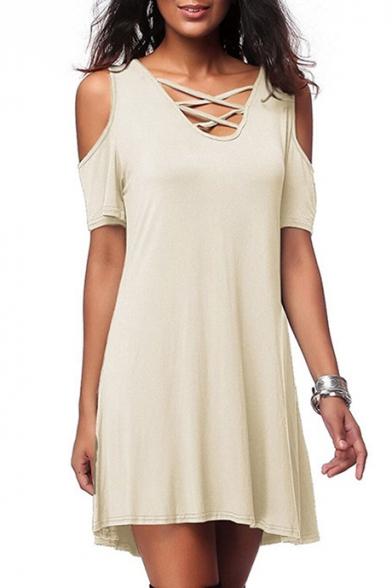 Summer Fashion Plain V-Neck Lace-up Detail Short Sleeve Cold Shoulder Mini T-shirt Dress