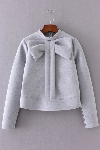 32647d6d Trendy Oversize Bow Detail Mock Neck Long Sleeves Cropped Sweatshirt -  Beautifulhalo.com