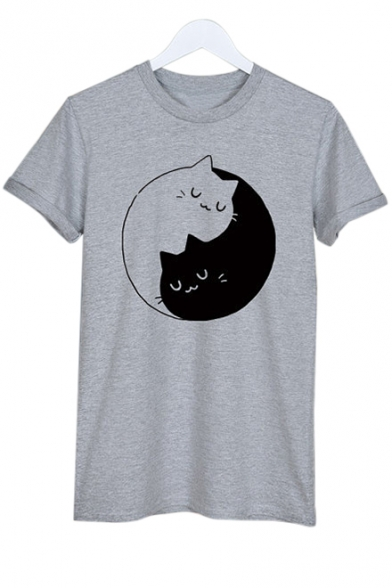 Yin Leisure Printed Short Yang Tee Sleeve Round Cats Neck CUHrC
