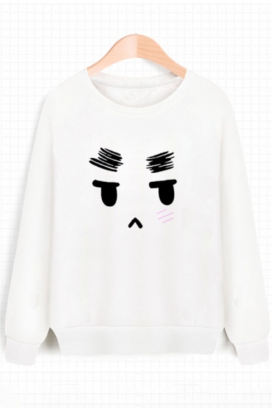 Adorable Cartoon Face Print Round Neck Long Sleeves Pullover Sweatshirt