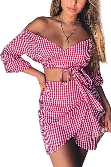 Image of Beach Fashion Plaids Pattern Bow Tie Waist Off the Shoulder Top with Mini Wrap Skirt