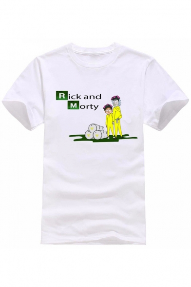 Printed Round Cartoon Character Short Letter Graphic Tee Neck Sleeve 1q1Etw