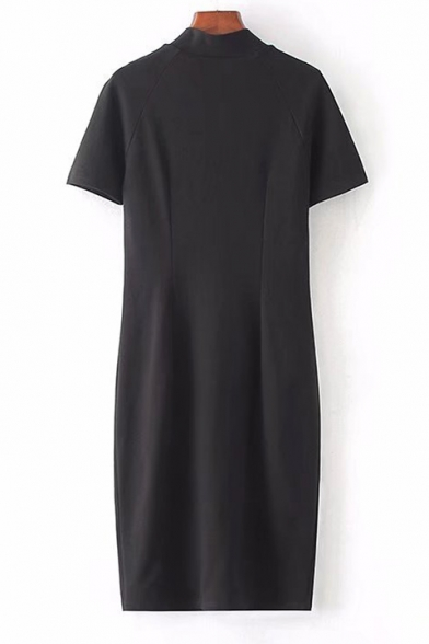 Chic Button Front Short Sleeve Plain High Neck Midi Pencil Dress