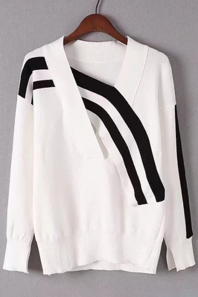 Chic Contrast Striped V Neck Long Sleeve Ribbed Trim Pullover Sweater