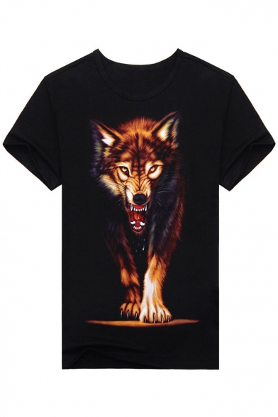 Chic Round Tee Casual Neck Wolf Popular Print Sleeves Short qqAvnfFUW