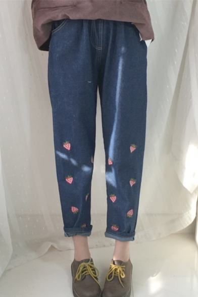 Childish Strawberry Embroidered Turn-up Ankle Elastic Waist Cropped Jeans