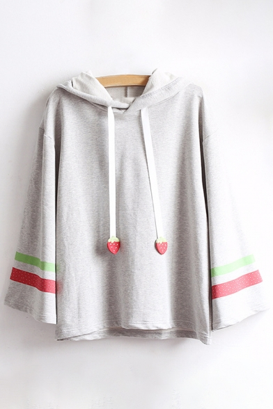 Sleeve Loose Striped Leisure Strawberry Tee Long Embellished Contrast Pattern Hooded fga4f0Z