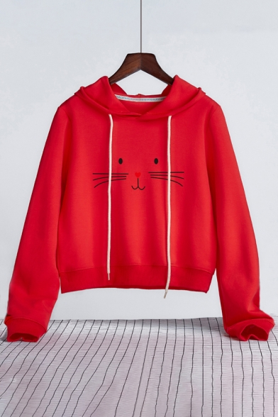 Long Pullover Sleeves Cute Face Cat Cropped Print Cartoon Hoodie XnYqwIxqH