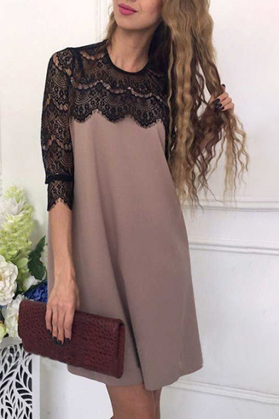 Daily Fashion Lace Panel Round Neck Half Sleeve Shift Mini Dress