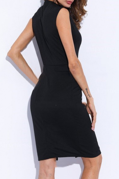 Elegant Split Dress Sleeveless Mini Pencil Plain V Neck Front rqwrFxa